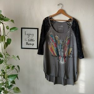 Free people distressed concert t Black Lace L